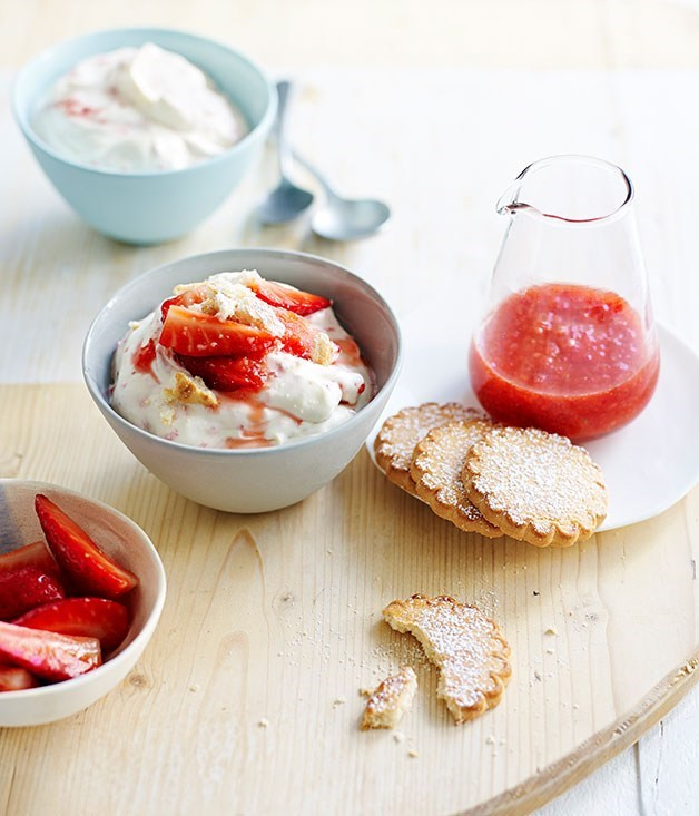 "[**Strawberries and cream**](https://www.gourmettraveller.com.au/recipes/fast-recipes/strawberries-and-cream-13403|target=""_blank"")"