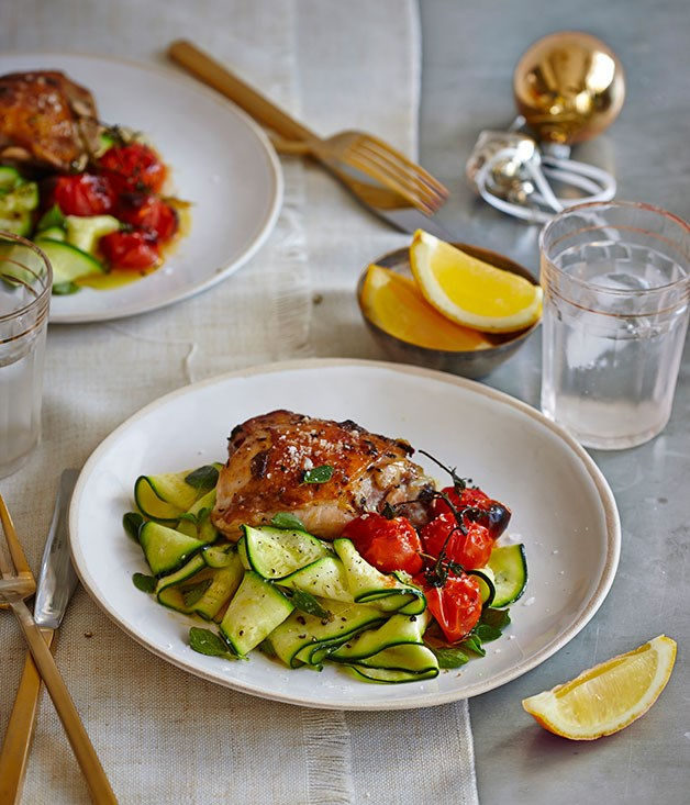Lemon-thyme chicken with roast tomato and zucchini salad