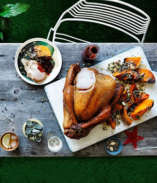 Cider-brined smoked turkey with cranberry barbecue sauce