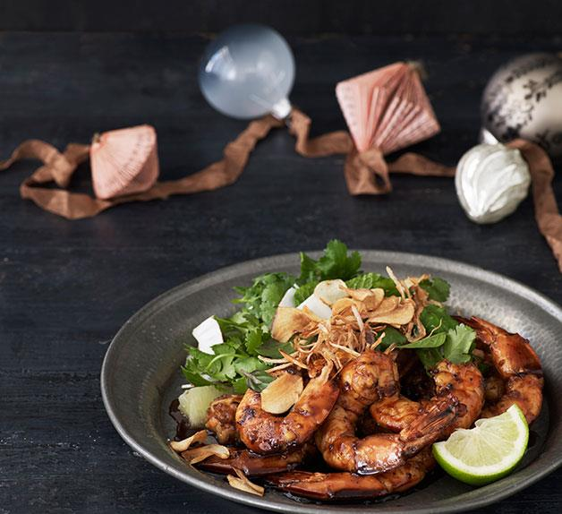 Coconut and pepper caramel prawns
