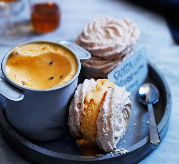 Toasted coconut meringue sandwiches with passionfruit ice-cream