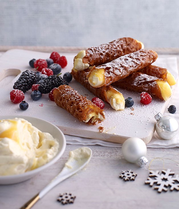 Brandy snaps with lemon cream and berries
