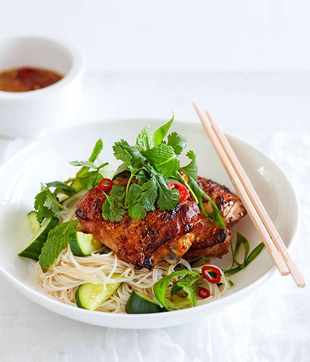 **Lime Leaf Chicken with Rice Noodles and Cucumber**