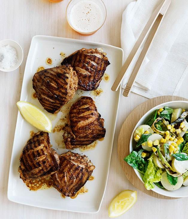 **Char-grilled paprika chicken with potato, corn and cos salad**