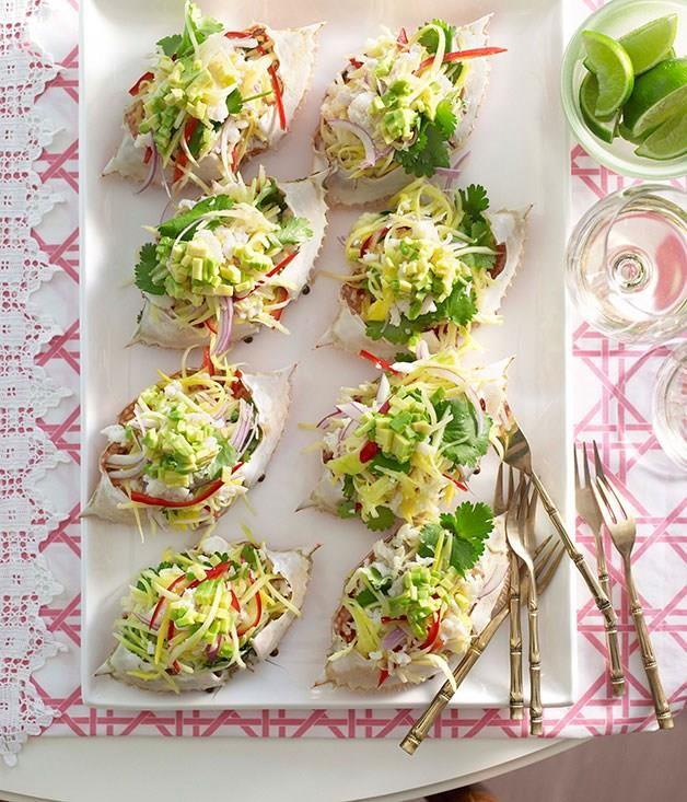 """[**Crab and green mango salad**](https://www.gourmettraveller.com.au/recipes/browse-all/crab-and-green-mango-salad-10279