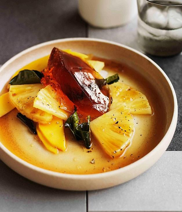 """[**Pineapple and mango salad with kaffir lime caramel and amber ale jelly**](https://www.gourmettraveller.com.au/recipes/browse-all/pineapple-and-mango-salad-with-kaffir-lime-caramel-and-amber-ale-jelly-11252
