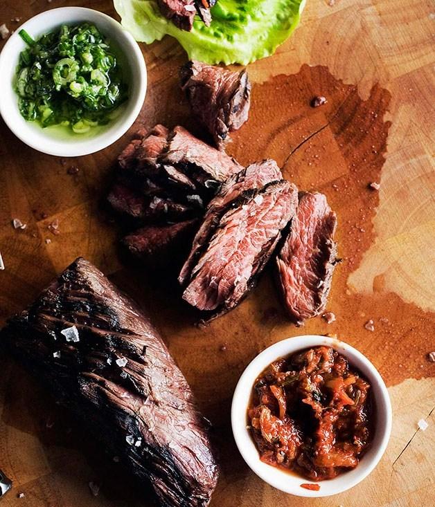 **Momofuku's marinated hanger steak ssam**