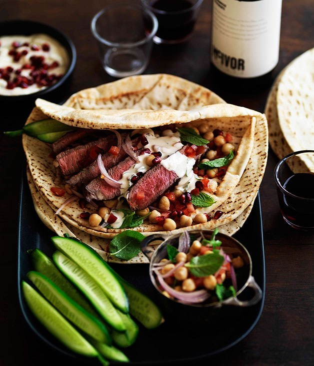 **Arab-style steak, chickpea and tahini wraps**