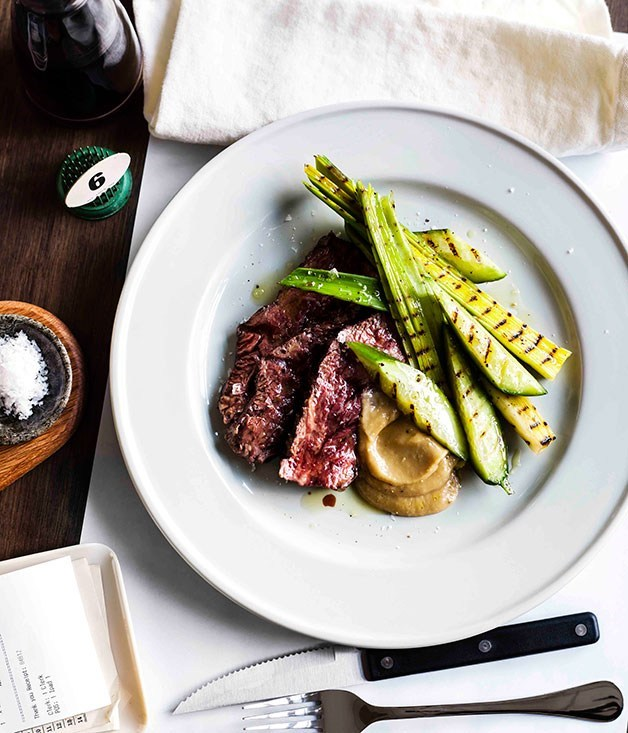 **Hanger steak with charred cucumber and garlic puree**