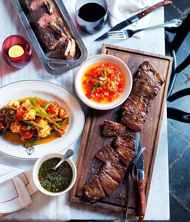 **Char-grilled skirt steak and beef short ribs with salsa criolla and chimichurri**