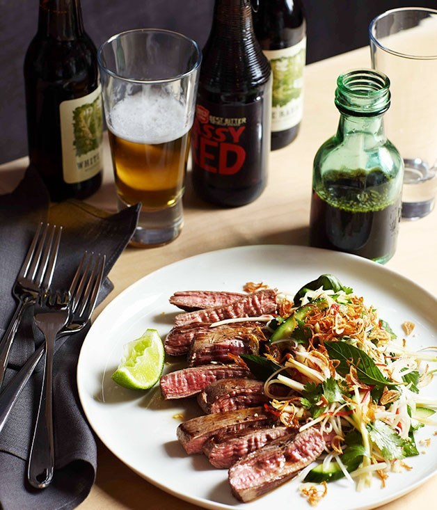 **Seared skirt steak, green papaya and roasted rice**