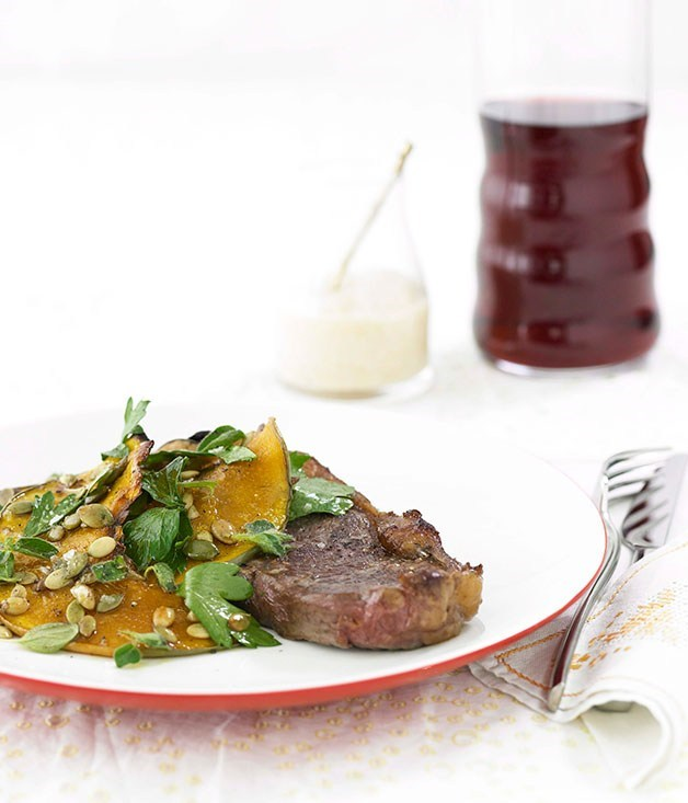 **Sirloin steak with roasted pumpkin**