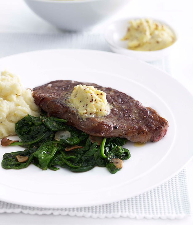 **New York steak with garlic-wilted spinach**