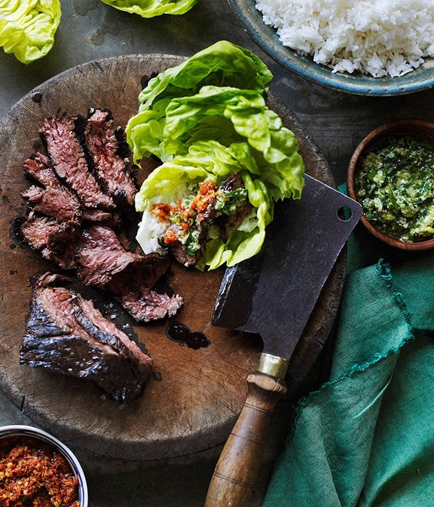 **Korean-style barbecued skirt steak ssäm with ginger and spring onion sauce**