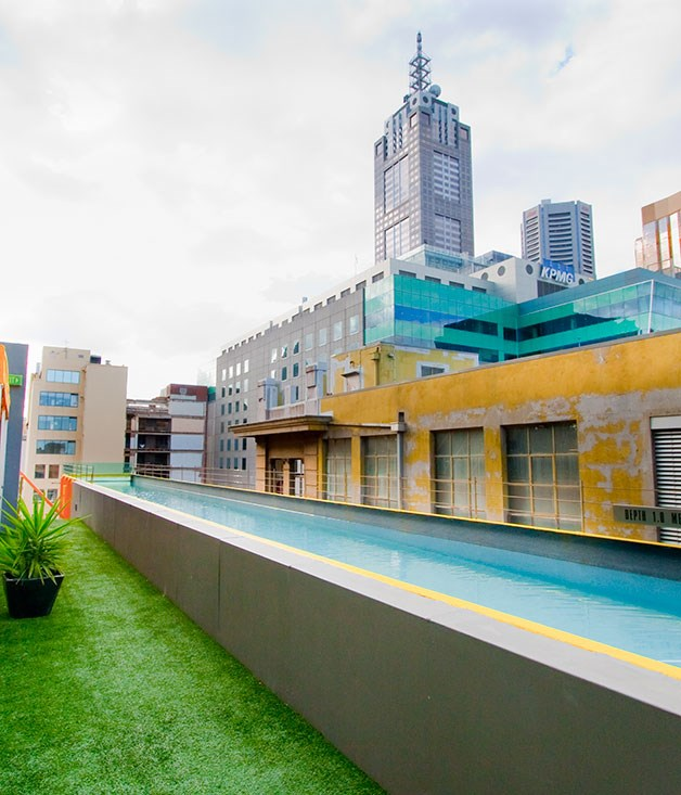 **Adelphi Hotel, Melbourne, Australia** There are a fair few renditions of the hanging pool around the world, but we think this one dangling over Flinders Lane at the [Adelphi Hotel](http://www.adelphi.com.au/) in Melbourne is one of the hottest.