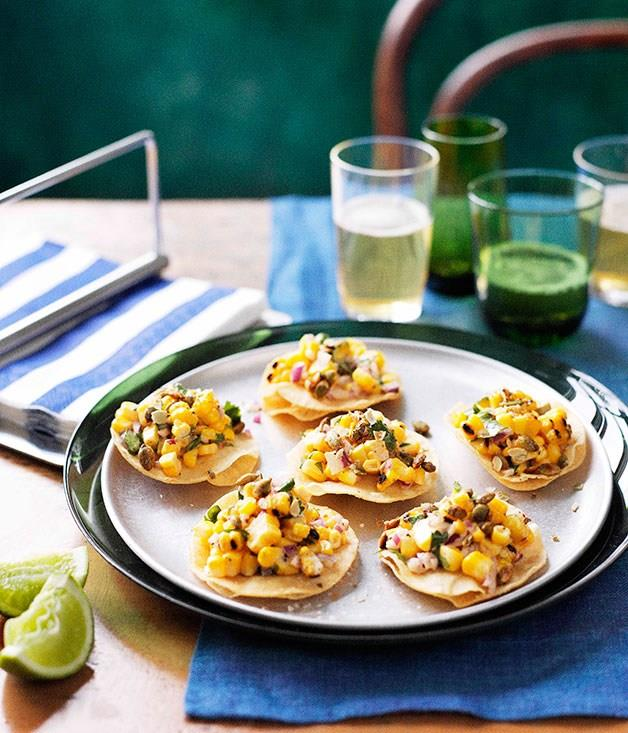 **Barbecued corn tostadas**