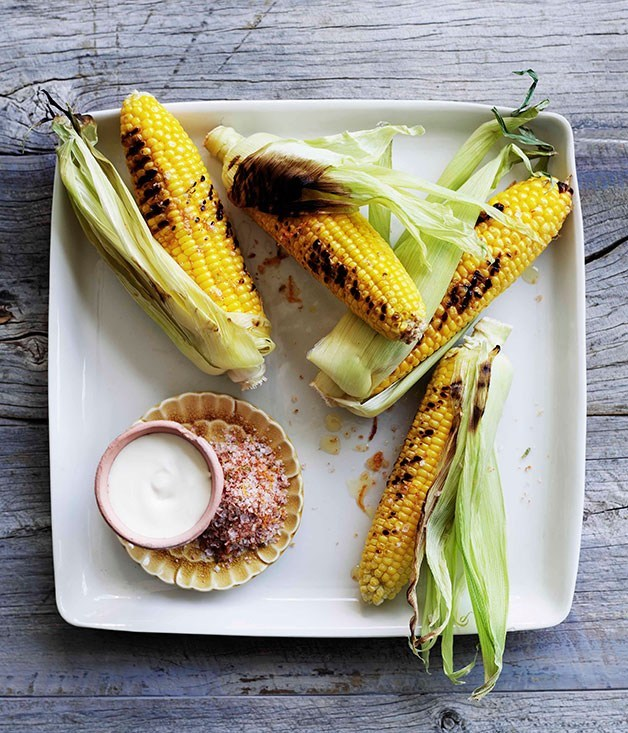 **Barbecued corn with chipotle salt and sour cream**