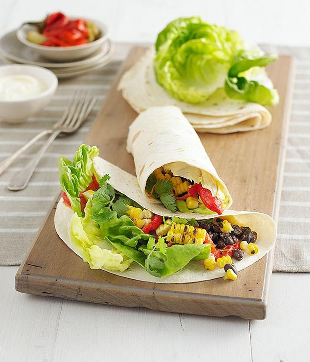 **Sweetcorn and black bean burritos**