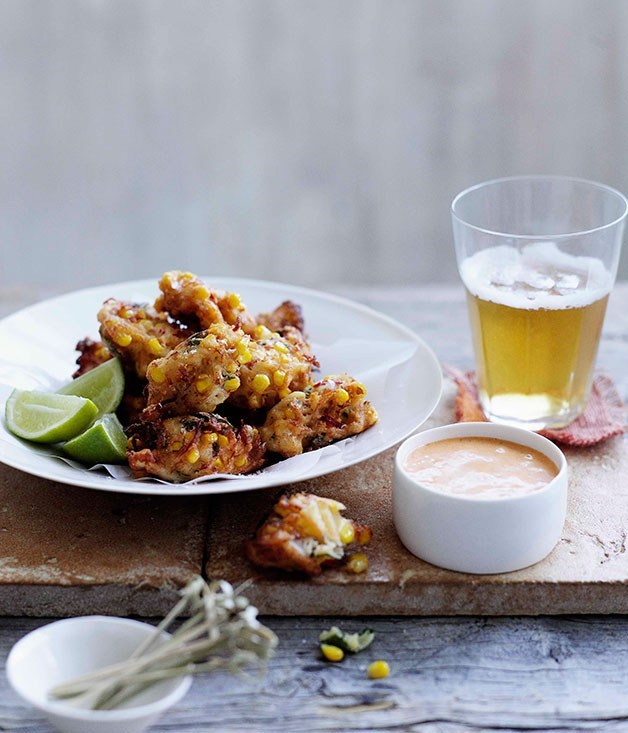 **Crab, corn and mint fritters with lemon-paprika mayonnaise**