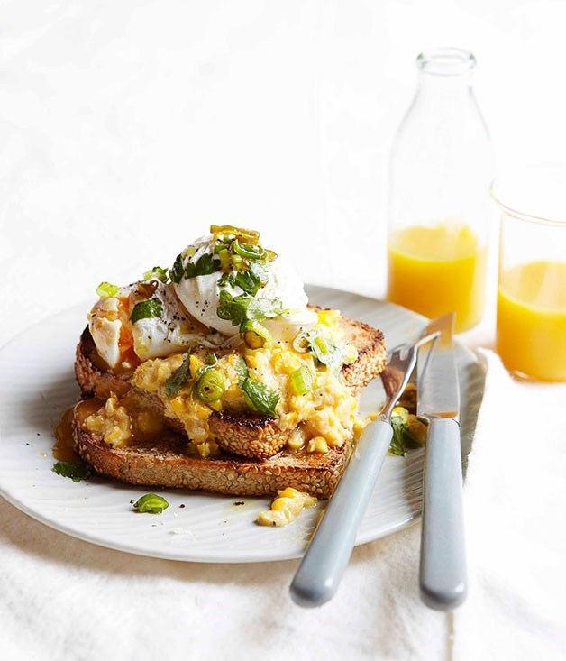 "**[Poached eggs with creamed corn and green chilli relish](https://www.gourmettraveller.com.au/recipes/browse-all/poached-eggs-with-creamed-corn-and-green-chilli-relish-10739|target=""_blank"")**"