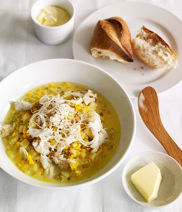 **End-of-spring corn and crab chowder**