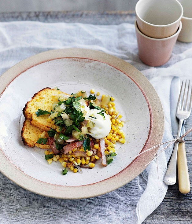 "**[Poached egg with cornbread, corn and bacon hash and green tomato relish](https://www.gourmettraveller.com.au/recipes/browse-all/poached-egg-with-cornbread-corn-and-bacon-hash-and-green-tomato-relish-10873|target=""_blank"")**"