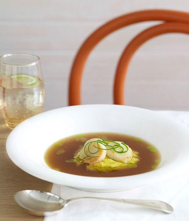 **Chicken and sweetcorn soup with seared scallops**