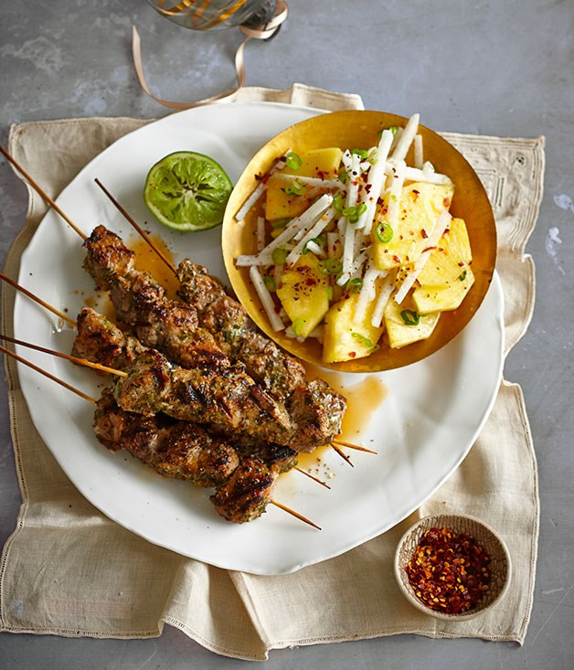 Jerk pork skewers with pineapple and jicama chopped salad
