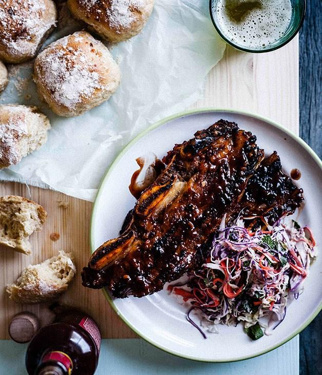 **Sticky barbecue beef ribs with coleslaw and soft onion rolls**