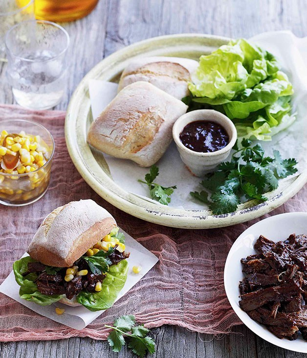 **Pulled beef rolls with corn and green chilli relish**