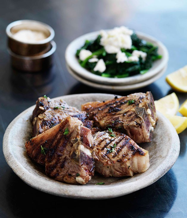 **Thyme-marinated lamb chops with boiled greens**