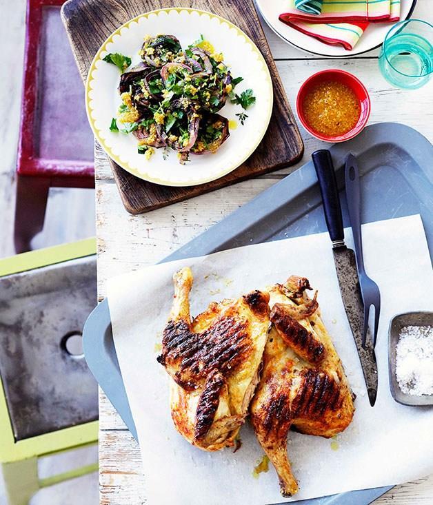 **Grilled whole chicken with piri piri**