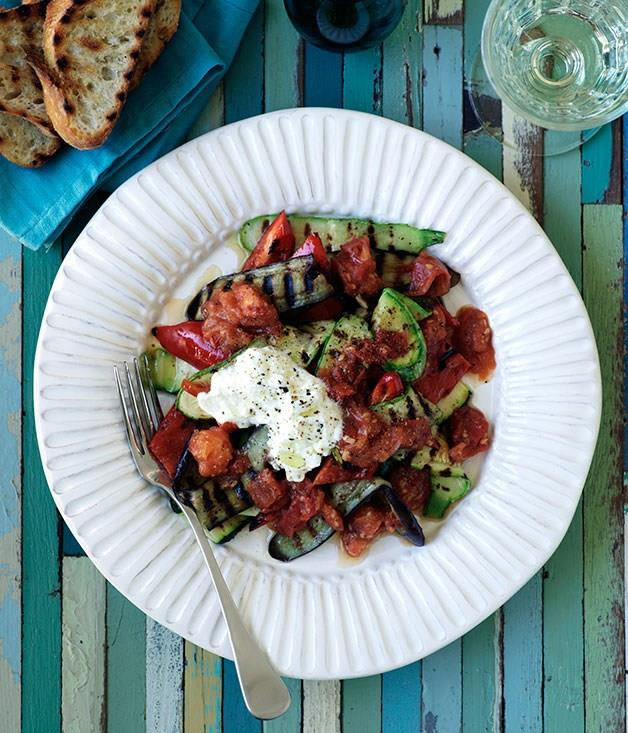 **Barbecued eggplant and zucchini with spicy tomato sauce and yoghurt**