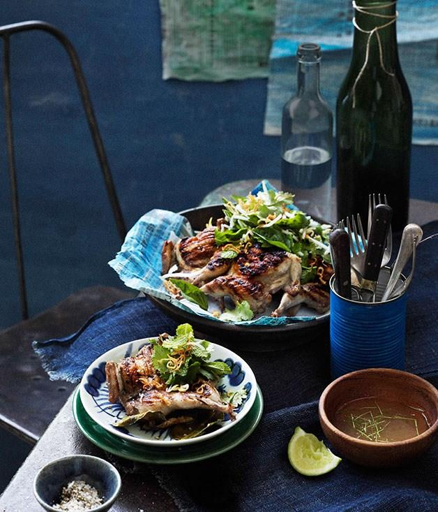 **Thai-style barbecued quail with lemon pepper dipping sauce**