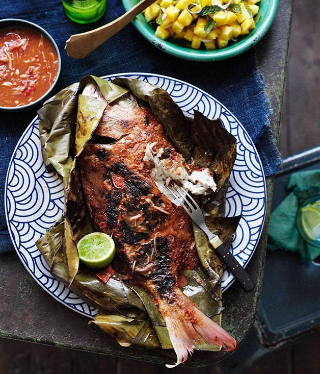 **Barbecued snapper in banana leaves with sambal belacan**