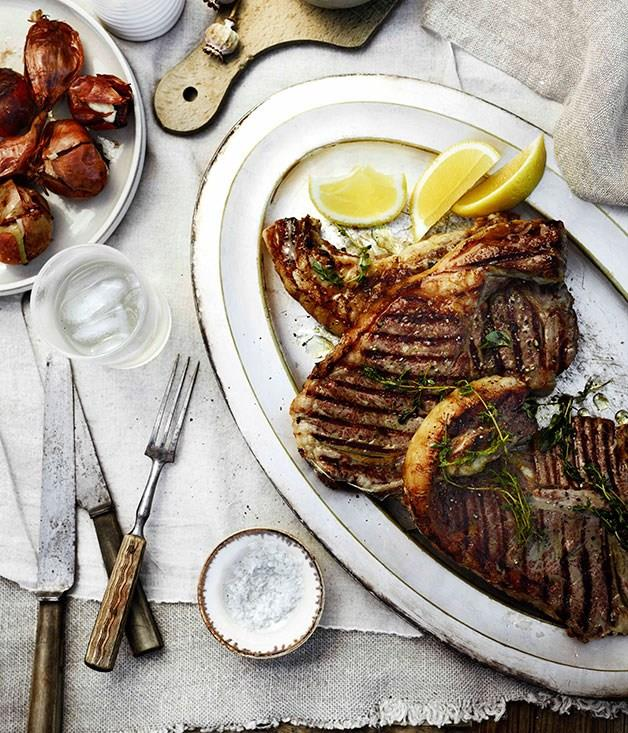 **Barbecued T-bones with herb oil and Taleggio onions**