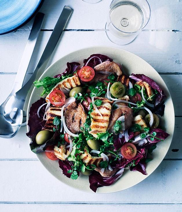 **Barbecued chicken, haloumi and green olive salad**