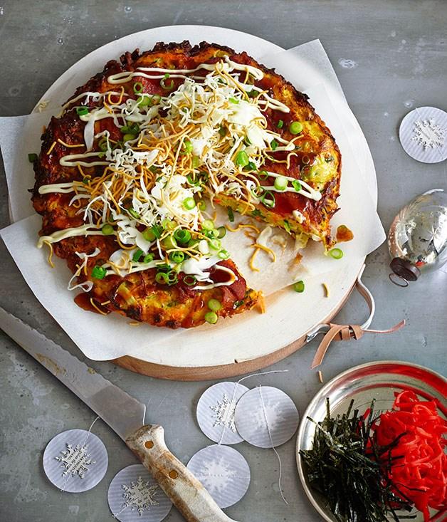 Okonomiyaki with shredded cabbage, daikon and fried noodles