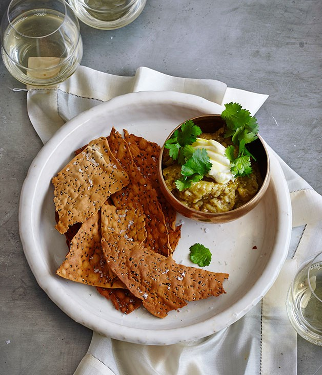 Charred eggplant dip with quick quinoa crackers