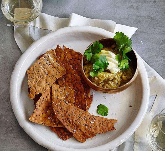 Charred eggplant dip with quick quinoa crackers