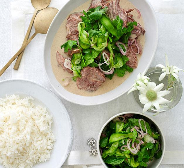 Coconut-braised wagyu beef shin with pickled cucumber salad
