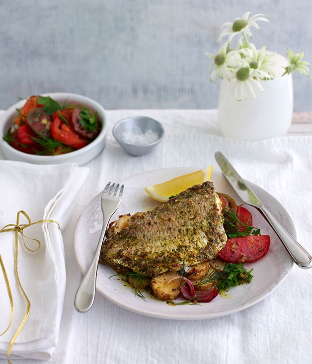 Chermoula snapper with lemon potatoes and tomato salad