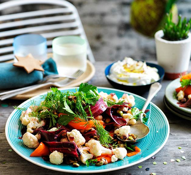 Cauliflower salad with orange and cumin dressing, and buffalo yoghurt