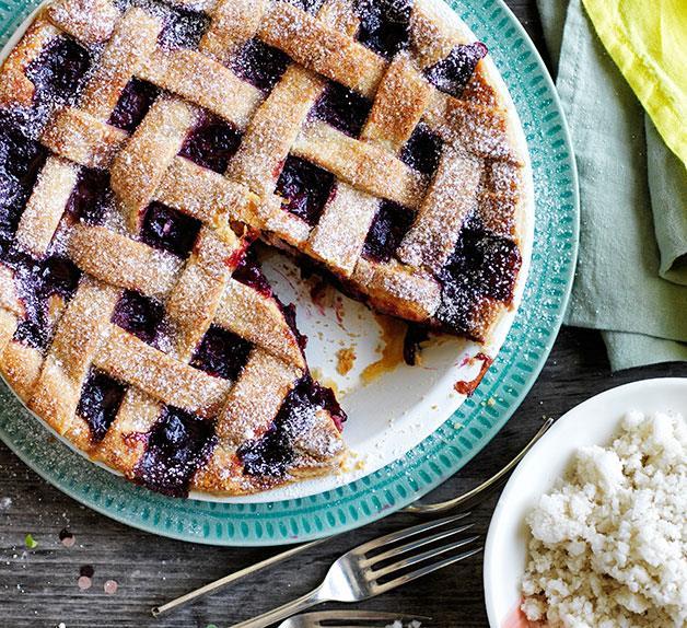 Cherry lattice pie with almond-milk ice