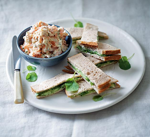 Rainbow trout rillettes, rye, cucumber and watercress sandwiches