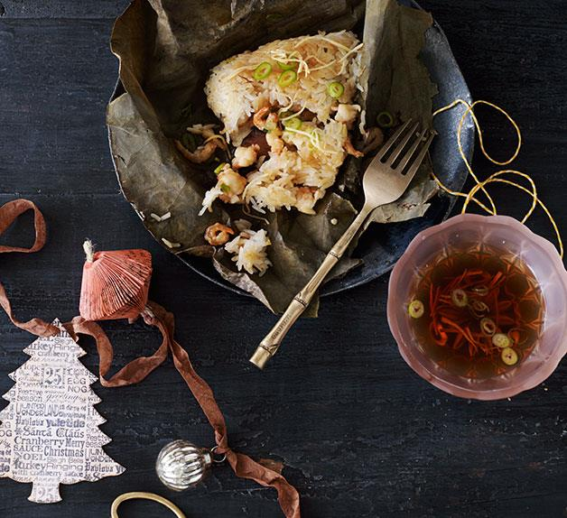 Chinese sticky rice prawn parcels