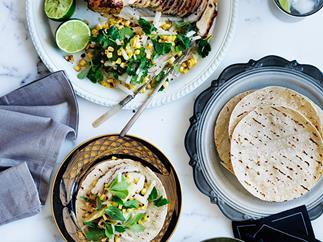 Barbecued turkey with corn and jicama salad