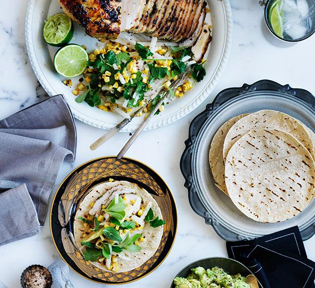 Barbecued turkey with corn and jicama salad