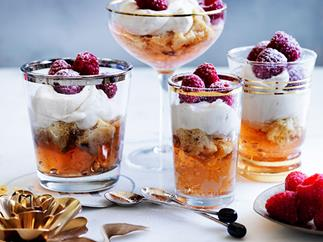 Moscato, raspberry and panettone trifles