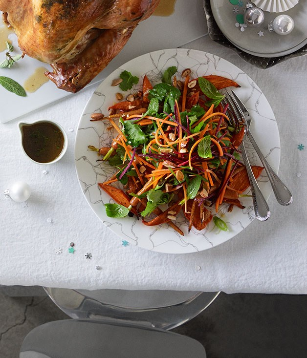 Carrot salad with coriander, parsley, almonds and Sherry vinaigrette